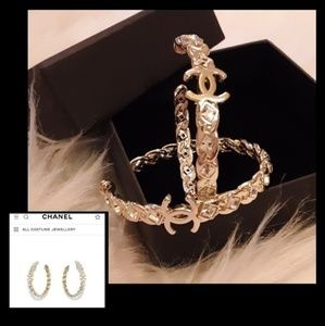 FIRM Chanel CC Crystal Hoop Earrings!